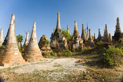 Ancient Ruins of Buddhist Stupas in  Indein. Royalty Free Stock Photo