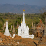 Ancient Ruins of Buddhist Stupas in  Indein. Royalty Free Stock Photos