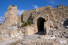 The Ancient Ruins of Caesarea. Caesarea National Park is located alongside the Mediterranean Sea - Israel. It was named in honor of the Roman patron, Emperor Royalty Free Stock Photos