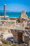 Ancient ruins at Carthage, Tunisia with the Mediterranean Sea in Royalty Free Stock Images
