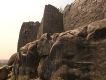 Hyderabad, India - January 1, 2009 Ancient ruins of the castle, Golconda fort royalty free stock photo