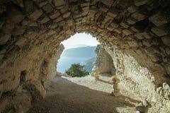 Ancient ruins. Castle ruins in Greece, Rhodos Stock Photos