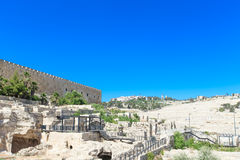 Ancient ruins in the center of Jerusalem Royalty Free Stock Photos
