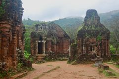 Ancient Ruins in central Vietnam on a cool, rainy, misty day in the mountain jungle like forest. stock photography
