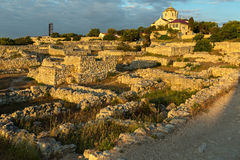 Ancient ruins Chersonesus Taurica in the rays of setting sun. Royalty Free Stock Photo