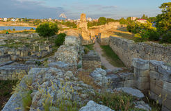 Ancient ruins Chersonesus Taurica in the rays of setting sun. Stock Photography