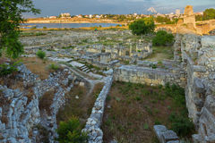 Ancient ruins Chersonesus Taurica in the rays of setting sun. Royalty Free Stock Photography