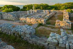 Ancient ruins Chersonesus Taurica in the rays of setting sun. Stock Images