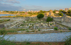 Ancient ruins Chersonesus Taurica in the rays of setting sun. Stock Image