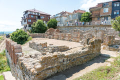 Ancient ruins on the city embankment of old Nessebar, Bulgaria Royalty Free Stock Photos