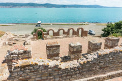 Ancient ruins on the city embankment of old Nessebar in Bulgaria Stock Photos