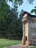 Ancient ruins in the city park. The remains of the building are made of red brick Stock Images