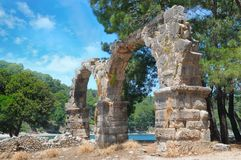 Ancient ruins of ancient city of Phaselis. Ancient ruins of the ancient city of Phaselis Royalty Free Stock Photo