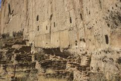Long House - Bandelier National Monument. The ancient ruins of the cliff dewllings known as the Long House on the Main Trail in Bandelier National Monument, Los Royalty Free Stock Image