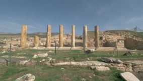 Ancient ruins and columns of Hierapolis city in Pamukkale, Turkey stock video footage