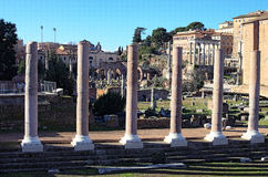 Ancient ruins and columns in Roman Forum. Rome, Italy Royalty Free Stock Photos