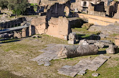 Ancient ruins and columns in Roman Forum. Rome, Italy Royalty Free Stock Images