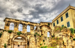 Ancient ruins in Diocletian Palace - Split. Croatia stock photo