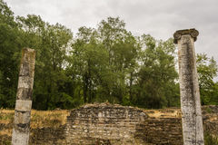 Ancient ruins in the Dion Archaeological Site at Greece Royalty Free Stock Photos