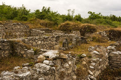 Ancient ruins in the Dion Archaeological Site at Greece Royalty Free Stock Photography