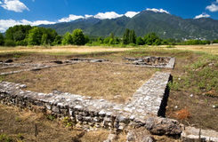 Ancient ruins in Dion Stock Photo
