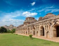 Ancient ruins of Elephant Stables. Royal Centre. Hampi, Karnataka, India. Stitched panorama Stock Image
