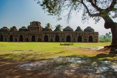 Ancient ruins of Elephant Stables. Hampi, India. Ancient ruins of Elephant Stables. Hampi in India stock image