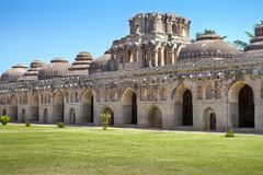 Ancient ruins of Elephant Stables. Hampi, India Royalty Free Stock Image