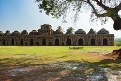 Ancient ruins of Elephant Stables. Hampi, India. Ancient ruins of Elephant Stables. Hampi in India stock photos