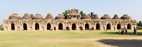 Ancient ruins of Elephant Stables at Royal Centre on Hampi Royalty Free Stock Photo