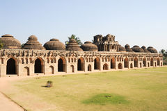 Ancient ruins of Elephant Stables at Royal Centre on Hampi Stock Images