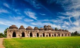 Ancient ruins of Elephant Stables. In Royal Centre. Hampi, Karnataka, India. Stitched panorama Stock Photos