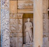 Ancient ruins at Ephesus historical ancient city. Statue of Sophia (Wisdom) in Ephesus historical ancient city, in Selcuk,Izmir,Turkey royalty free stock photos