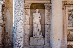Ancient ruins at Ephesus historical ancient city. Statue of Sophia (Wisdom) in Ephesus historical ancient city, in Selcuk,Izmir,Turkey royalty free stock photo