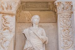 Ancient ruins at Ephesus historical ancient city. Statue of Sophia (Wisdom) in Ephesus historical ancient city, in Selcuk,Izmir,Turkey stock photo