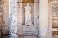 Ancient ruins at Ephesus historical ancient city. Statue of Sophia (Wisdom) in Ephesus historical ancient city, in Selcuk,Izmir,Turkey stock photography