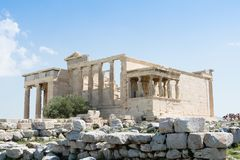 Ancient ruins of Erechtheum, Acropolis, Athens. Temple of Erechtheum, Acropolis, Athens, Greece Royalty Free Stock Photography