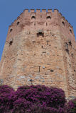 Ancient ruins and flag Turkey over Simena castle Stock Photography