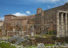 Ancient ruins at Foro Trajano royalty free stock images