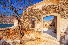 Ancient ruins of a fortified leper colony - Spinalonga Kalydon island Stock Photography