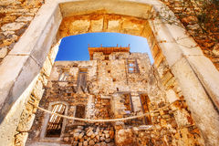 Ancient ruins of a fortified leper colony - Spinalonga Kalydon island Stock Images