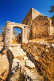 Ancient ruins of a fortified leper colony - Spinalonga Kalydon island Royalty Free Stock Photos