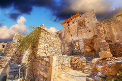 Ancient ruins of a fortified leper colony - Spinalonga Kalydon island Stock Photo