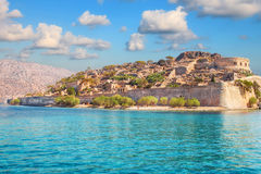 Ancient ruins of a fortified leper colony - Spinalonga Kalydon island Royalty Free Stock Photography