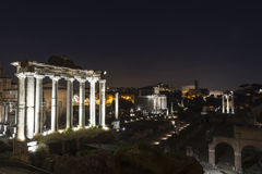 Ancient ruins at forum romanum in Rome at night Royalty Free Stock Image