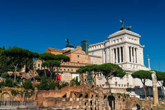 Ancient ruins of Forum and Victor Emmanuel II monument Royalty Free Stock Photos