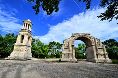 Ancient ruins of Glanum, Saint Remy, Provence, France. Ancient Roman ruins at Glanum, Saint Remy, Provence, France Royalty Free Stock Photos