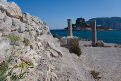 Ancient Ruins, Greece, Kos island. Ancient Basilic Ruins and Aghios Stefanos Islet view, Greece, Kos island Royalty Free Stock Photos