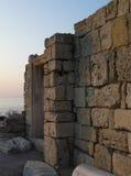 Ancient ruins of greek basilica. In Chersonesos Taurica, Crimea, Ukraine Royalty Free Stock Photography