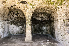 Ancient ruins of Greek Theater in Syracuse, Sicily Royalty Free Stock Image